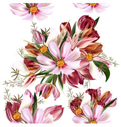 floral seamless pattern with cosmos flowers vector image