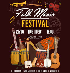 Folk music festival traditional music instruments vector