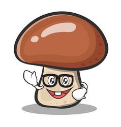 Geek face mushroom character cartoon vector