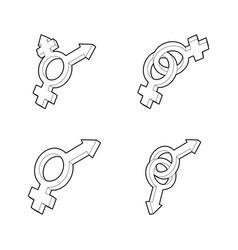 gender symbol icon set outline style vector image