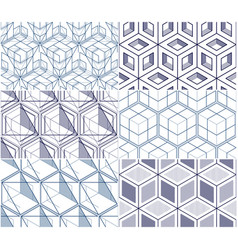 geometric cubes abstract seamless patterns set 3d vector image