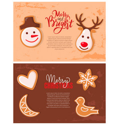 gingerbread cookies merry christmas and new year vector image