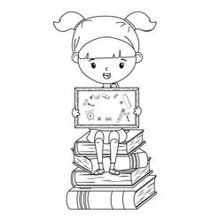 Girl kid school and blackboard design vector