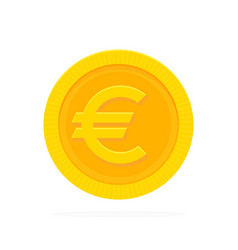 Gold euro coin in flat style vector