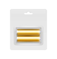Golden Alkaline AA Batteries in Blister vector