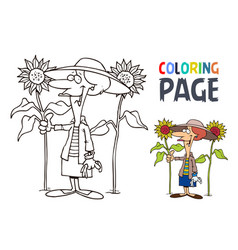 grandmother and sunflower cartoon coloring page vector image