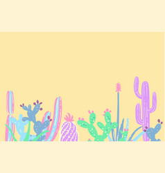 hand draw cactus and succulents set vector image