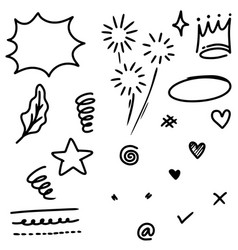 hand drawn set abstract doodle elements use vector image