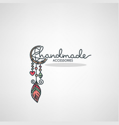 handmade accessories hand drawn doodle logo vector image