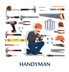 handyman with work tools construction industry vector image