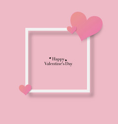 happy valentines day with paper pink heart and vector image
