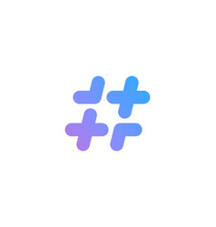hashtag symbol cross plus logo icon design vector image