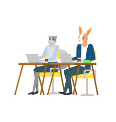 hipster animal sitting and using laptop vector image