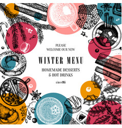 hot drinks and desserts trendy design winter vector image