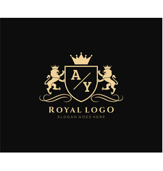 Initial ay letter lion royal luxury heraldiccrest vector
