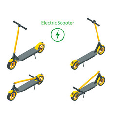 isometric set modern electric scooters isolated vector image