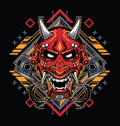 Japanese demon mask with tribal sacred geometry vector
