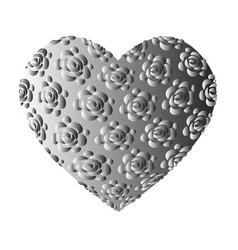 large volume grey heart with roses vector image
