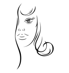 Line drawing beautiful woman face vector