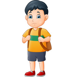 Little sad boy with backpack vector