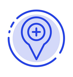 Location map navigation pin plus blue dotted line vector