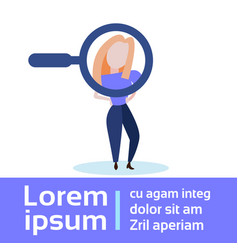 magnifying zoom glass business person woman vector image