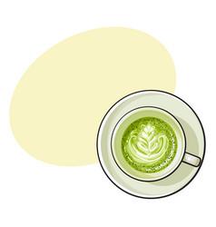 Matcha green tea latte cappuccino drink top view vector