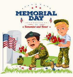 memorial day greeting card american veterans lay vector image