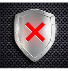 Metal shield with the sign ban vector