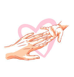 mom holds child hand vector image