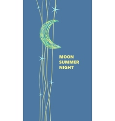 Moon and stars advertising poster cartoon style vector image