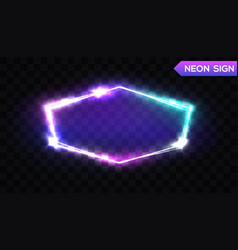 night club hexagonal neon sign 3d light signboard vector image