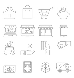 On Line Shopping Thin Icons vector image