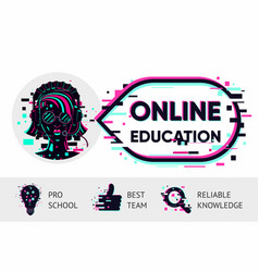 online education background e-learning vector image