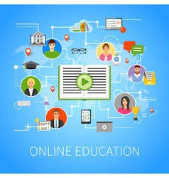 Online Education Flat Infographic Webpage vector