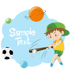 Paper template with boy playing baseball vector