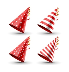 Party hat set isolated on a white Birthday hat set vector image