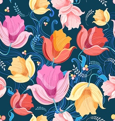 Pattern of flowers tulips vector