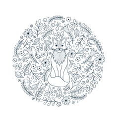 pattern with fox and flowers vector image
