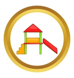 Playhouse with slide icon vector image