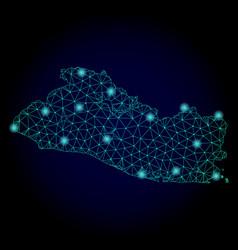 polygonal carcass mesh map of el salvador with vector image