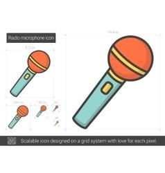 Radio microphone line icon vector image