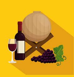 red wine set icons vector image