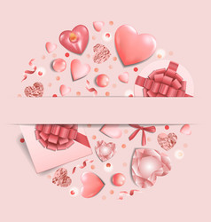 romantic pink template with top view objects vector image