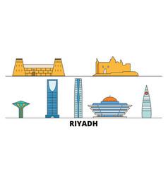 Saudi arabia riyadh flat landmarks vector