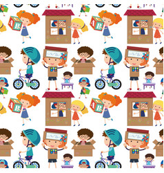 seamless background with kids playing vector image