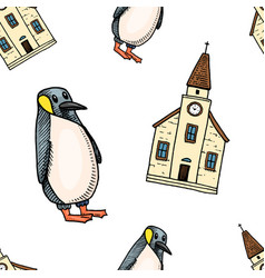 Seamless pattern penguin and chapel merry vector