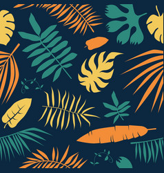 Seamless pattern with tropical plant leaf vector