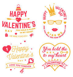 set happy valentines day sign stamp card vector image