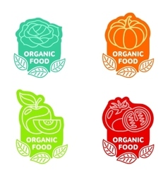 Set of organic food fruit and vegetable logo vector image